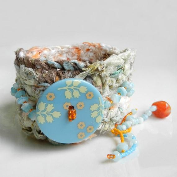 Boho Bracelet Cuff Aqua and Orange Hippie Jewelry