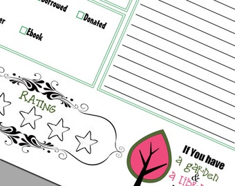 INSTANT DOWNLOAD Editable and Printable Reading Journal Log Garden and Library