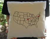 Heart Strings Map Pillow