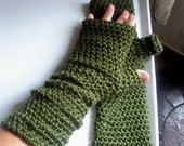 Long Fingerless Gloves or Arm Warmers Forest Green or Custom Colors