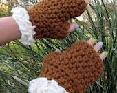 Brown Fingerless Gloves with Cream Ruffles