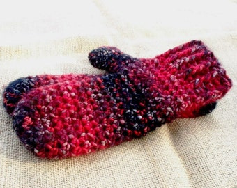 Red Mittens Soft Crocheted Wool Blend Mittens Red Black Brown