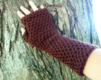Long Fingerless Gloves or Arm Warmers Crochet Chocolate Brown