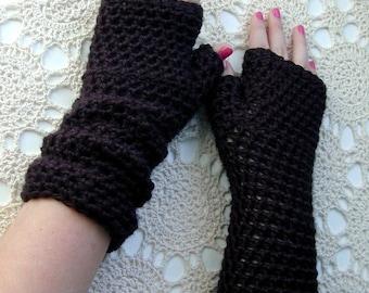 Long Black Fingerless Gloves Crocheted Arm Warmers