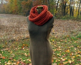 Rust Cowl Scarf Infinity Cowl Crochet Circle Scarf
