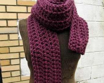 Extra Long Crochet Scarf Purple Plum Fig or Custom Colors