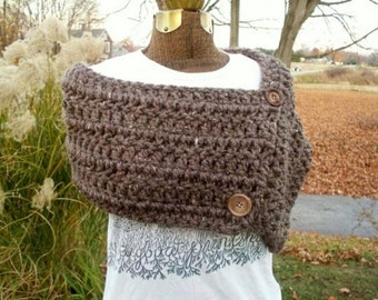 Button Wrap in Barley Brown Button Up Shawl