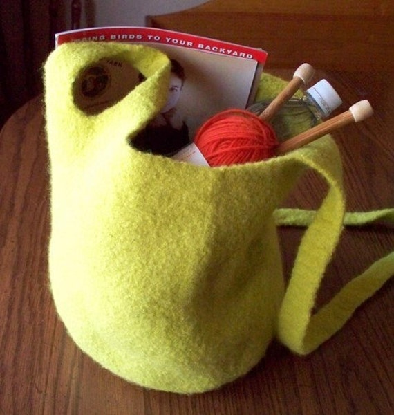 Large Crocheted Bag Felted Wool Purse in Lemongrass Green or Custom Color