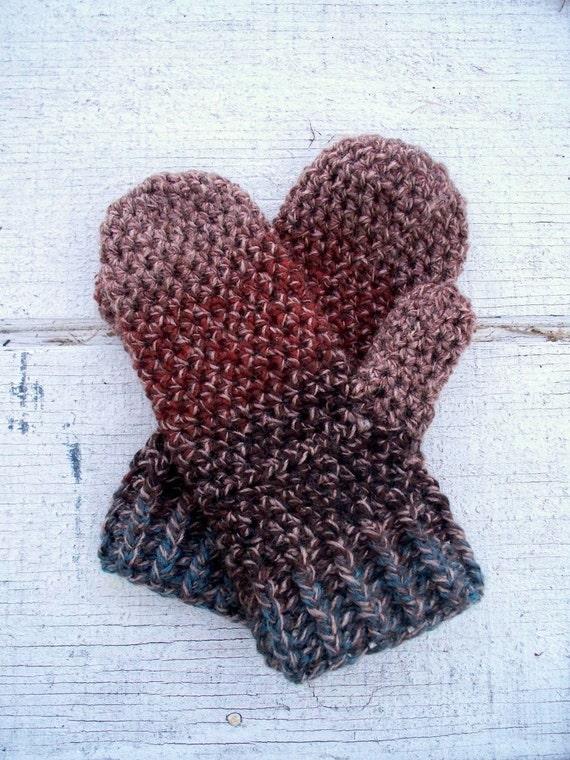 Crochet Mittens Warm Tweed Wood Brown Rust Teal Winter Accessories