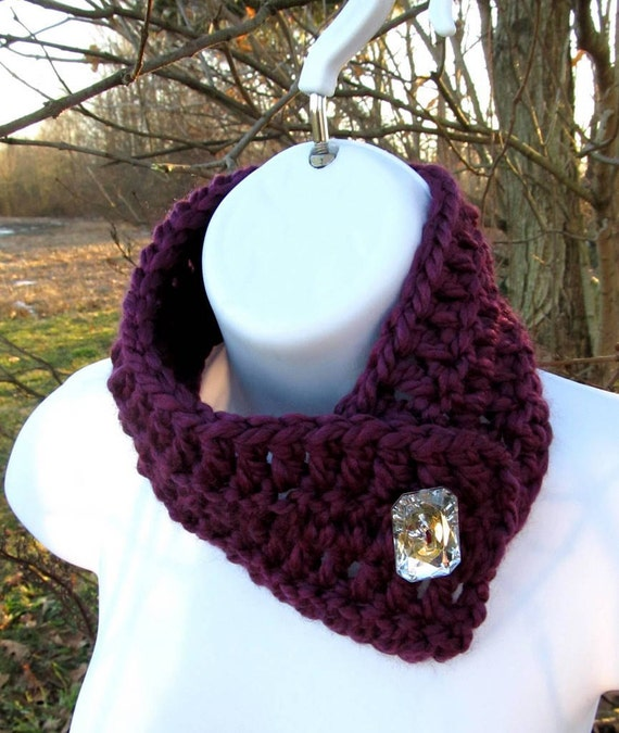 Burgundy Button Scarf with Bling