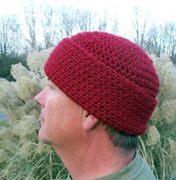 Mens Wool Hat in Chili Pepper Red Watchcap Winter Accessories SALE