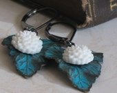 Dangle Earrings, Waterlilies, Patina, Turquoise and White, Leaves and Flowers, Gifts for Her