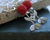 Sale Dangle Earrings, Flowers, Rhodium Charm and Lucite Flower, Mod style