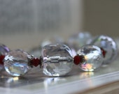 Beaded Bracelet, Faceted Glass, Clear and Red, Elegant, Gifts for Her, Valentine