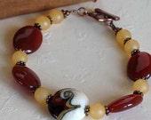 50% off SALE - Beaded Bracelet, Lampwork Glass and Semi Precious Stones, Carnelian, Brown Golden Caramel, Butterscotch