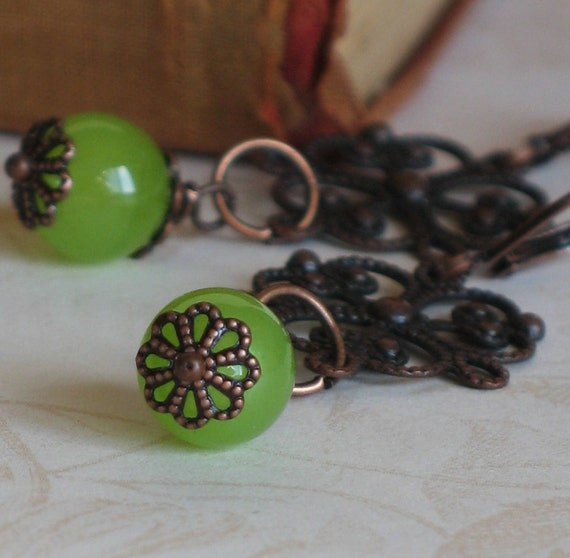 Dangle Earrings, Beaded, Copper Stamping, Green, Victorian Inspired, Vintage Style, Romantic