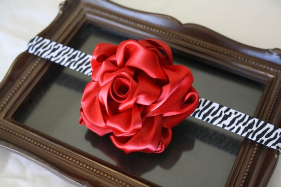 HandRolled Ribbon Rose Headband  Zebra Print Band