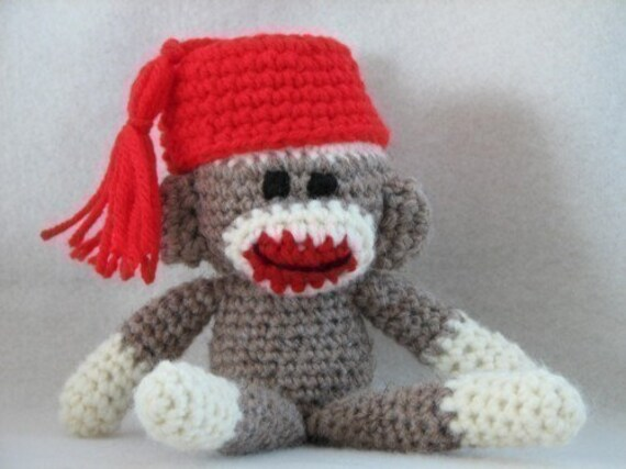 PDF - Sock Monkey Amigurumi Crochet Pattern - INSTANT DOWNLOAD