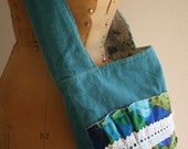 Aqua Blue Corduroy Messenger Bag with Vintage Ruffle and Crochet Lace