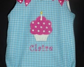Turquoise Blue Gingham Birthday Bubble Romper with Cupcake Applique and Monogram 6m, 12m, 18m, 24m