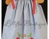 Blue Gingham Pillowcase Dress with Cherry Applique and Monogram 6M 12M 24M 2T 3T 4T 5T 6T