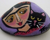 Original FRIDA Kahlo Painting with Kitty on a River Rock  by Trine EBSQ