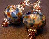 My Favorite Jeans Blue Amber Lampwork Bauble Earrings