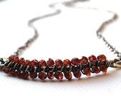 SALE - Smile Necklace - Garnet and Sterling Silver