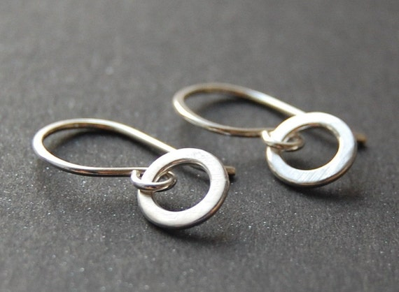 Tiny Circle Drops - Sterling Silver Small Dangle Earrings