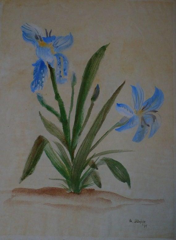 Iris 1, Chinese Brush Painting (Print)