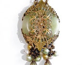 Neo Victorian Gothic Green Serpentine Jade & Pearl Medallion Necklace - Vintage Style Handmade Natural Stone Pendant - Brass Filigree Wrap