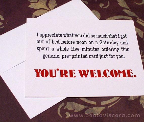 Items similar to Funny Thank You Card - A2 Snarky Sarcastic Flat ...