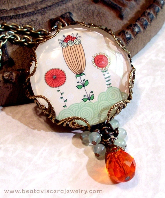 Flower Necklace - Picture Necklace - Shabby Chic Retro Art Necklace Whimsical Floral Peach Green Orange Glass Picture Pendant Charm Jewelry