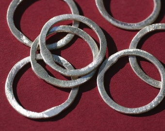 NEW size!!  BSRR4/24- Sterling Silver Brushed  Rings 4ct @24mm-Handmade