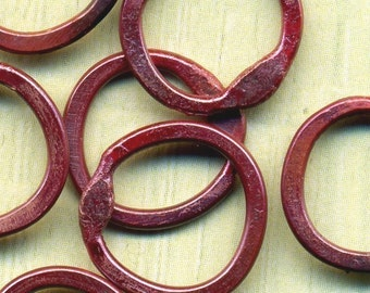 RCRR12/10- Rosey Copper Hammered Rings 12ct 10mm-Handmade