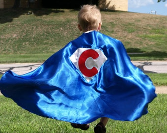 Kids Super Hero Cape - Super Hero Cape Personalized with Shape and Initial - Super Hero Party Favor - Custom Superhero Capes -