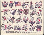 Tattoos Penny Store Tat Sheet 1940s Homefront WWII era Uncle Sam Flag Eagle Plane Military Soldiers Patriotic Paper Ink Paperink Graphics