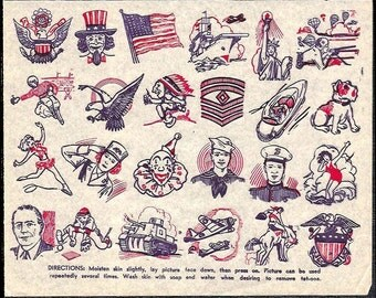 Tattoos Penny Store Tat Sheet 1940s Homefront WWII era Uncle Sam Flag Eagle Plane Military Soldiers Patriotic Paperink Graphics
