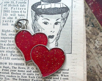 Sparkle Glitter Red Hearts Vintage Pendant Embellishment Craft Supply for Mixed Media Assemblage Supplies or Altered Art Jewelry Making