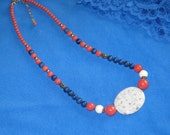 Blue Lapis and Agate Gold necklace - FREE SHIPPING