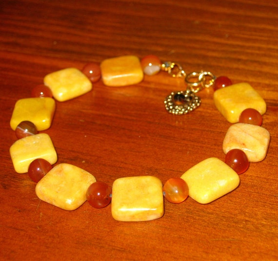 Honey Gold Marble and Carnelian Bracelet - Free Shipping