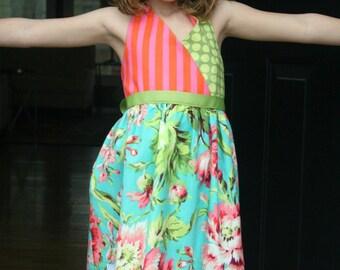 Girls Halter Sundress Girls Spring Dress Girls Easter Dress - Ready to Ship