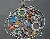 Kaleidoscope VII, Gemstone and Silver Pendant Necklace