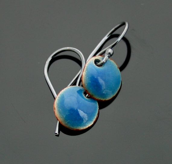 Teal Blue Enamel Earrings Sterling Silver Earwires