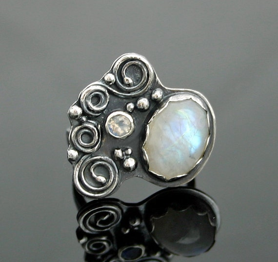 Rainbow Moonstone and Oxidized Silver Ring