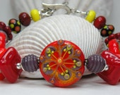 ALOHA Handmade Lampwork Bead Bracelet