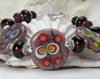 OUT of THIS WORLD Handmade Lampwork Bead Bracelet
