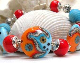 SALE RIO Handmade Lampwork Bead Bracelet