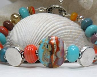 HAPPY TRAILS Handmade Lampwork Bead Bracelet