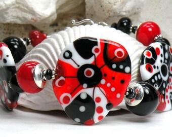 Sale ABSTRACT PALETTE BLACKJACK Handmade Lampwork Bead Bracelet